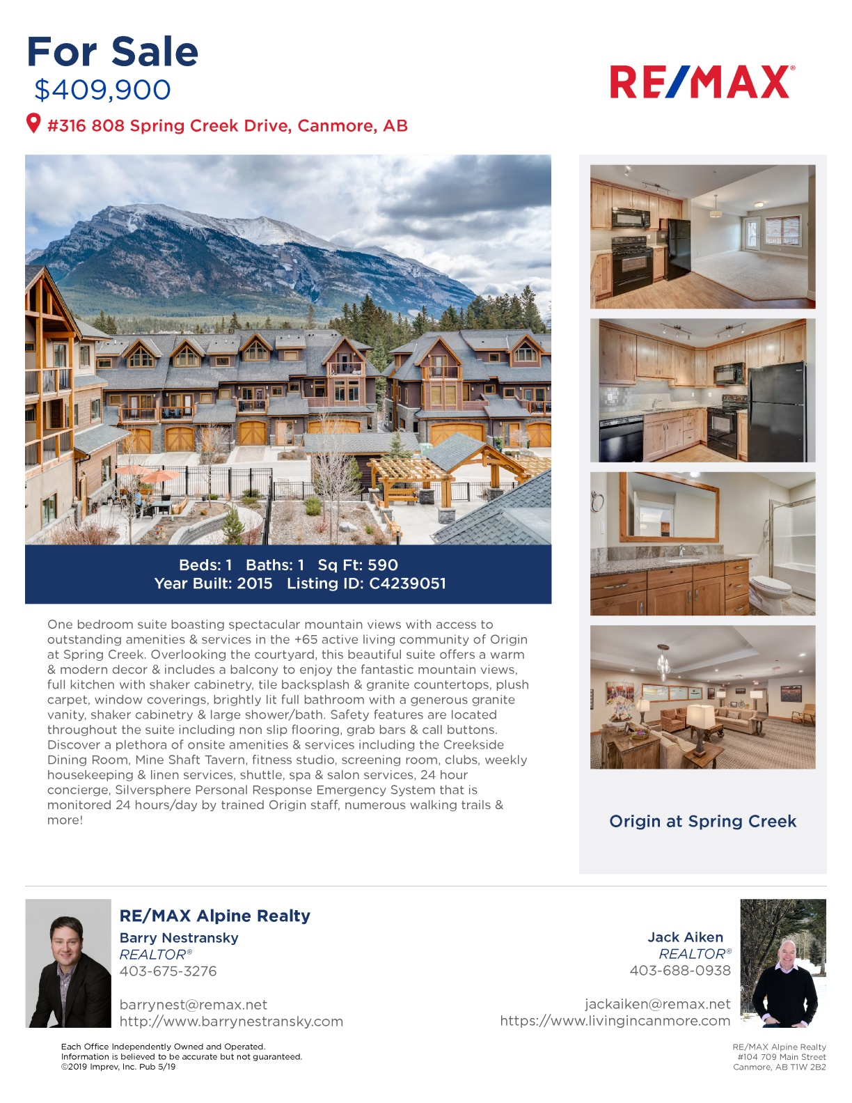 #316 808 Spring Creek Drive, Canmore